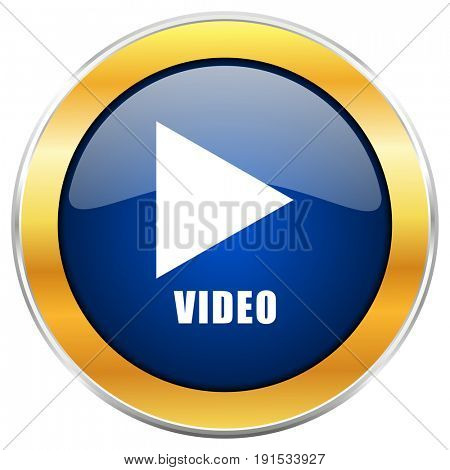 Video blue web icon with golden chrome metallic border isolated on white background for web and mobile apps designers.