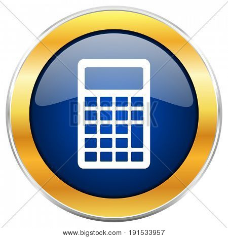 Calculator blue web icon with golden chrome metallic border isolated on white background for web and mobile apps designers.