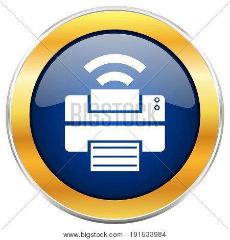 Printer blue web icon with golden chrome metallic border isolated on white background for web and mobile apps designers.