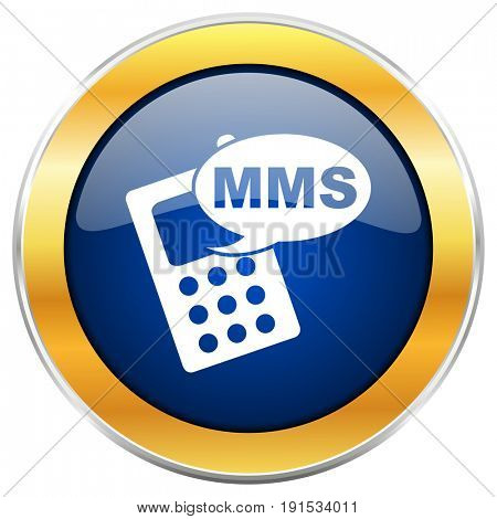 Mms blue web icon with golden chrome metallic border isolated on white background for web and mobile apps designers.