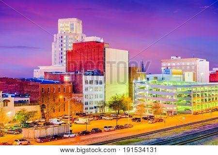 Durham, North Carolina, USA downtown skyline at twilight.