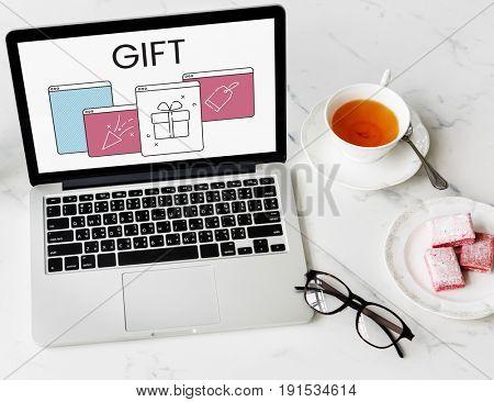 Web Window Gift Box Present Petard Label Icon
