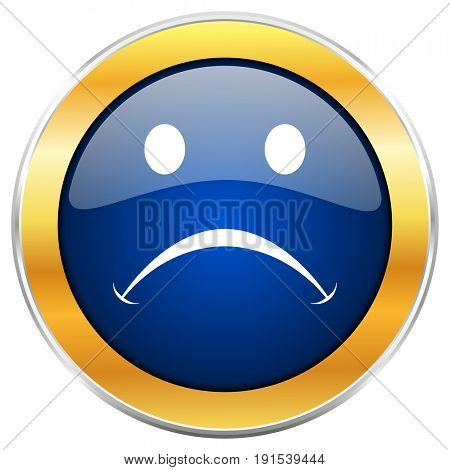 Cry blue web icon with golden chrome metallic border isolated on white background for web and mobile apps designers.