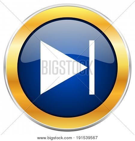 Next blue web icon with golden chrome metallic border isolated on white background for web and mobile apps designers.