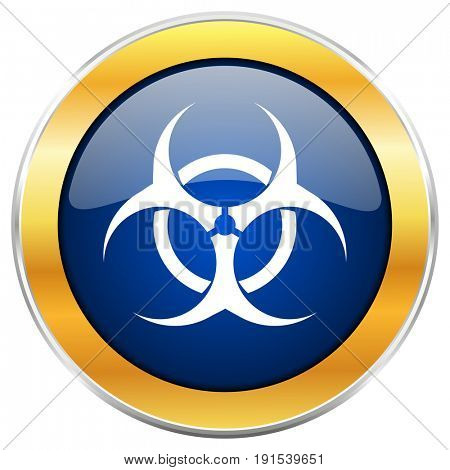 Biohazard blue web icon with golden chrome metallic border isolated on white background for web and mobile apps designers.