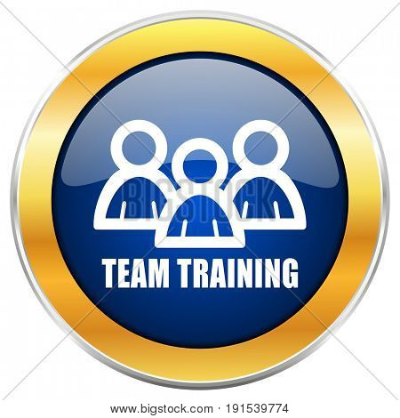Team training blue web icon with golden chrome metallic border isolated on white background for web and mobile apps designers.