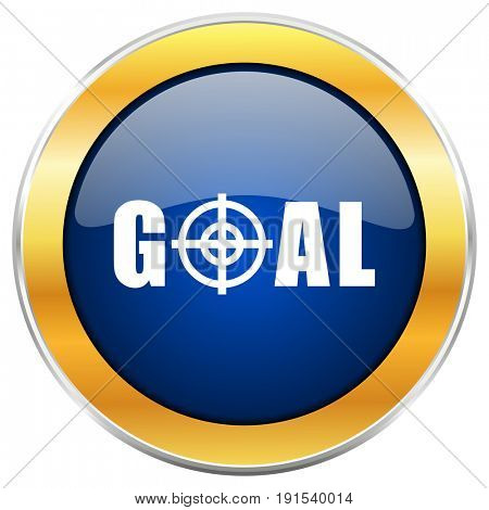 Goal blue web icon with golden chrome metallic border isolated on white background for web and mobile apps designers.