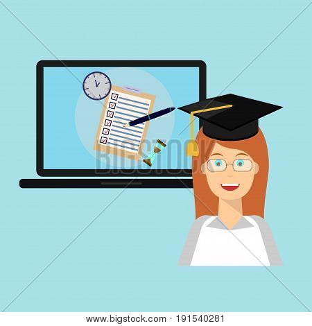 School exam test results on laptop screen with graduation hat, cap, graduate. Education flat icon set for flyer, poster, web site like test, pen, clock and hourglass.