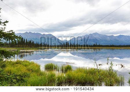 Serenity lake in Alaskan tundra