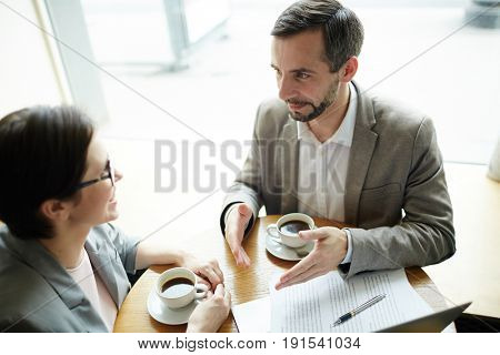 High angle portrait of two enthusiastic adult business people discussing project during coffee break in cafe