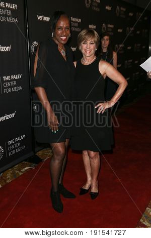 NEW YORK - MAY 17: Olympians Jackie Joyner-Kersee (L) and Dorothy Hamill attend The Paley Honors: Celebrating Women in Television at Cipriani Wall Street on May 17, 2017 in New York City.