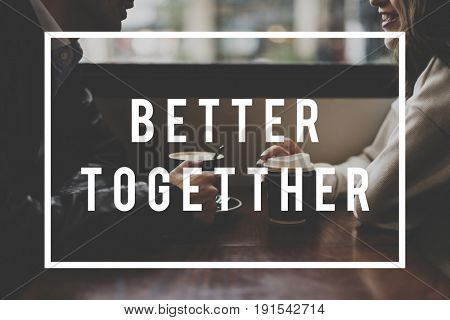 Couple Dating Coffee Cafe Spend Time Together Word