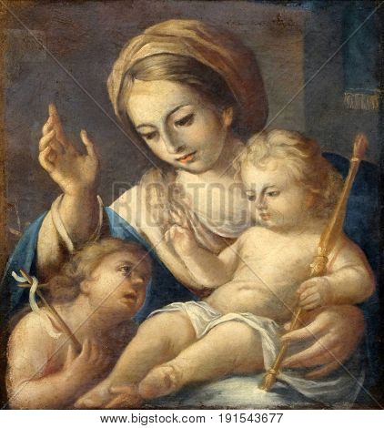 DUBROVNIK, CROATIA - NOVEMBER 08: Madonna with Child and Saint John the Baptist, Franciscan church of the Friars Minor in Dubrovnik, Croatia on November 08, 2016.