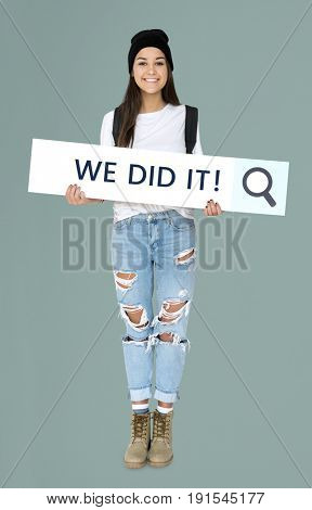 Caucasian Girl Standing and Holding Search Bar Placard