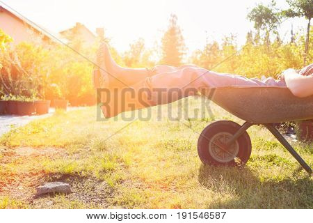 Low section of man relaxing in wheelbarrow at garden