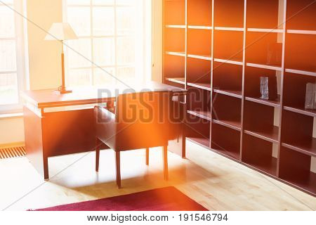 Empty wooden shelves in home office