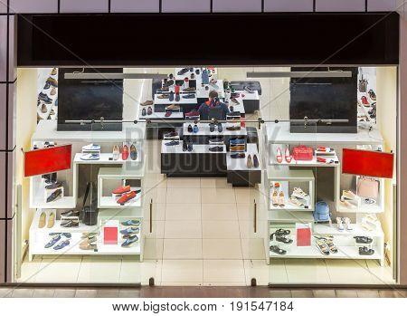 Shoe store showcase, luxury footwear shop