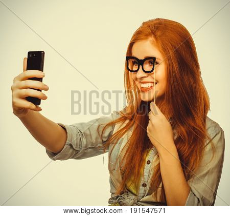redhair girl ready for party, take selfie