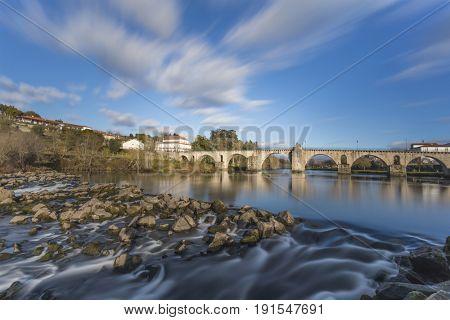 Long exposure at ancient bridge of Ponte da Barca