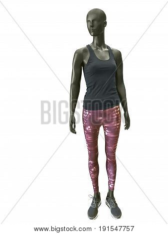Full-length female mannequin dressed in sportswear isolated on white background. No brand names or copyright objects.