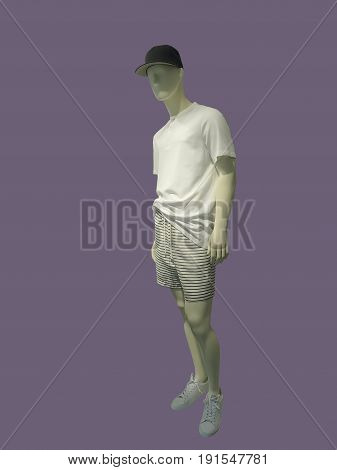 Full-length male mannequin dressed in t-shirt and shorts isolated. No brand names or copyright objects.