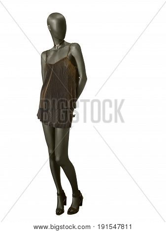Full-length female mannequin dressed in fashionable summer clothes isolated on white background. No brand names or copyright objects.