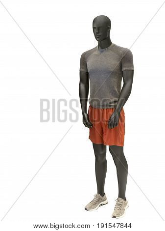 Full-length male mannequin dressed in sportswear isolated on white background. No brand names or copyright objects.