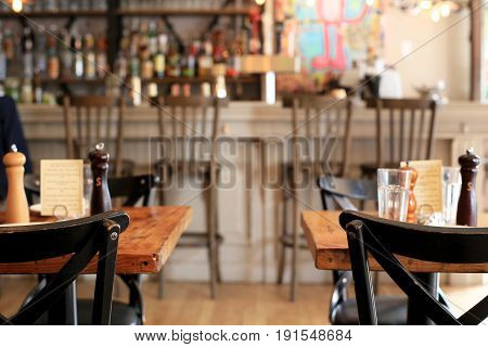 Beer bar pub, long table with chairs