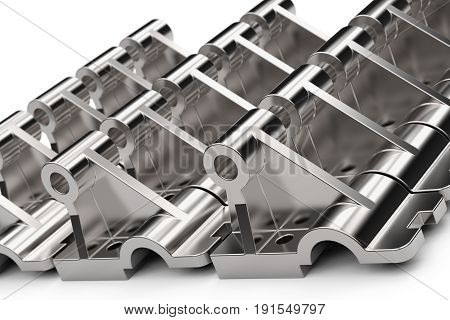 Shiny metal parts made of steel on a white background. Studio lighting. Polished stainless steel. Cast part with holes. Black and white reflections. Laid out in neat rows. 3D illustration.