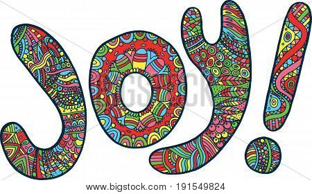 Coloring page with joy word. Digital colorful ilustration for coloring book, design and tshirt.