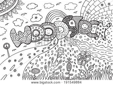 Coloring page with woodstock word. Digital black and white doodle ilustration for adult coloring book design and tshirt.