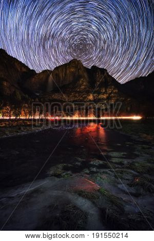 Circle Star Trails In Yosemite National Park