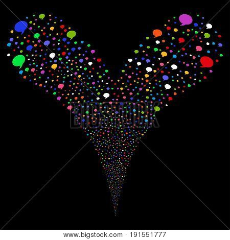 Balloon fireworks stream. Vector illustration style is flat bright multicolored iconic balloon symbols on a black background. Object fountain combined from random symbols.