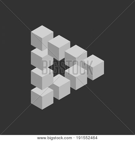 Impossible triangle in grey. 3D cubes arranged as geometric optical illusion. Reutersvard traingle. Vector illustration.