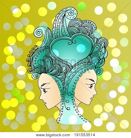 Vector twins in doodle style on mandala background. Can be used as card, invitation, background element. Hand drawn style. Adult coloring book.
