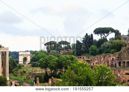The iconic Arch of Titus on the Via Sacra in the Roman Forum, Rome, Italy