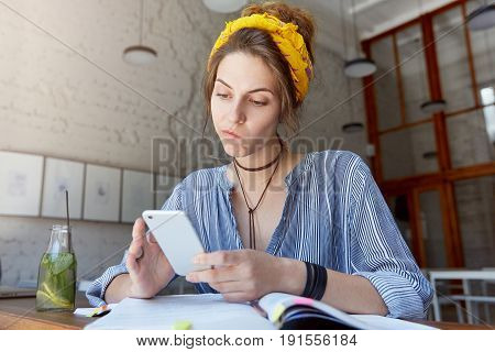 Human And Technology. People And Education Conept. Beautiful European Woman In Casual Clothes Studyi