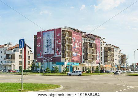 Sochi, Krasnodar Krai, Russia - June 06.2017: The Building With The Banner-invitation