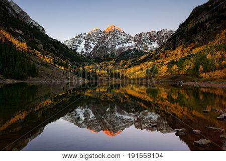 Beautiful Sunrise At Maroon Lakes, Colorado