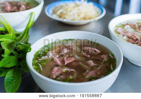 Pho Bo vietnamese soup noodle with beef