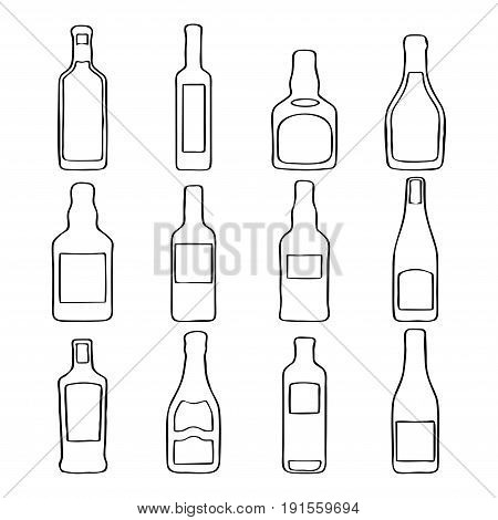 gray wine bottle icons in flat design style Vector