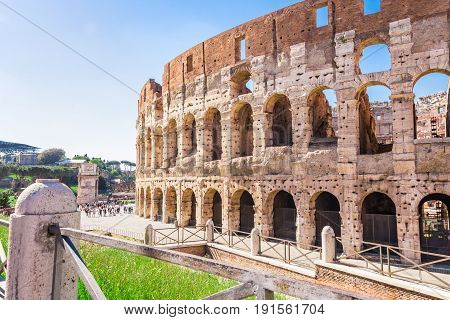 Side view of The Colosseum in a sunny spring day.