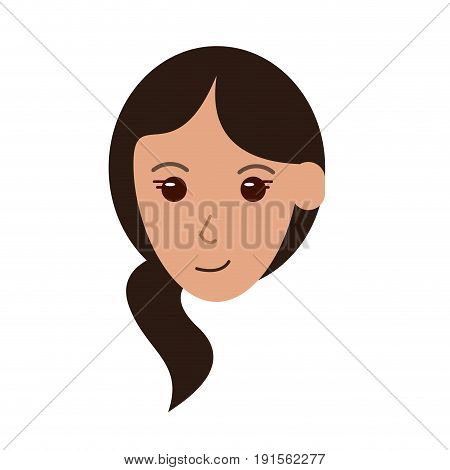 face of happy woman with side ponytail  icon image vector illustration design