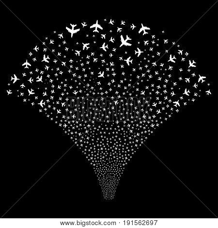 Fountain of jet plane symbols. Vector illustration style is flat white iconic symbols on a black background. Object fountain created from confetti icons.
