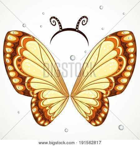 Cute Butterfly wings and hoop with antennae on a white background