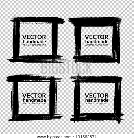 Square Frames Of Thick Textured Strokes Made With A Fine Brush Isolated On Imitation Transparent Bac