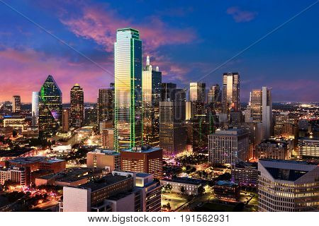 Dallas city skyline Texas. View from Reunion Tower Downtown. Beautiful scene after sunset of commercial zone.
