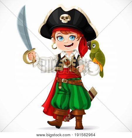 Cute boy dressed as pirate with saber holding green parrot on his hand isolated on a white background