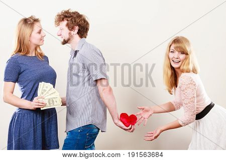 Cheating and cunning idea. Handsome sneaky man tricking rich woman for his true love. Triangle concept.