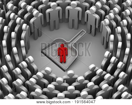 Low self-esteem of personality. Scoop lies on a white surface with red symbol of man and many symbols of people around. Isolated. 3D Illustration